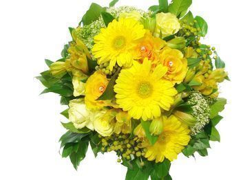 Petit bouquet orange blanc et jaune